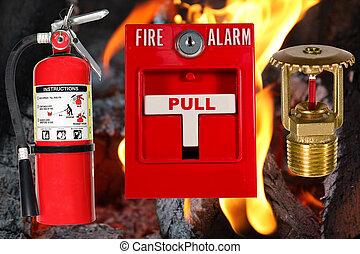 proteção incêndio, sobre, chama, fundo