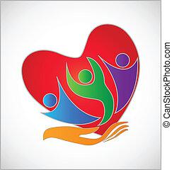 proteção, mão, coração, logotipo