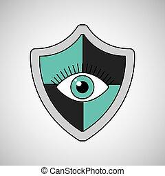 proteção, olho, escudo, vigilância