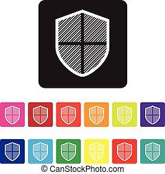 proteção, online, ícone