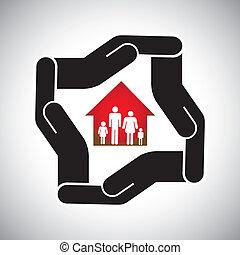 proteção, ou, segurança, de, casa, ou, lar, com, família, conceito, vector., a, gráfico, também, representa, seguro lar, ativo, proteção, cofre, negócio propriedade real, negócios, pessoal, &, seguro saúde, etc