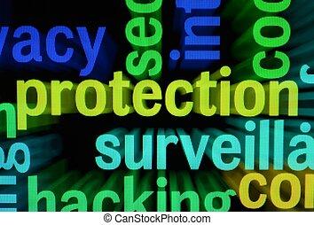 proteção, palavra, nuvem