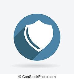 proteção, shield., círculo, azul, ícone, com, shadow.