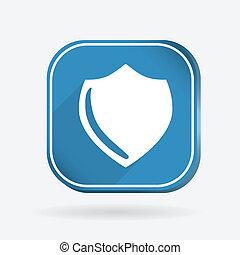 proteção, shield., cor, quadrado, ícone