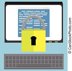 proteção, software, desenho