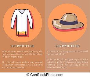 proteção sol, jogo, de, cartazes, com, inscrições