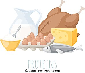 proteínas, illustration., vector, alimento