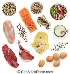 proteïne, aanzicht, bronnen, vrijstaand, bovenzijde, voedingsmiddelen