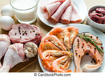 proteïne, dieet, ingredienten