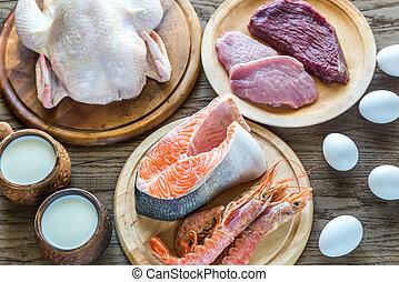 proteïne, diet:, rauwe, producten, op, de, houten, achtergrond