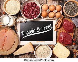 proteïne, geassorteerd, voedingsmiddelen