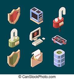 protección, ataque, spam, información, cyber, vector, virus, lan, bichos, computadora, ddos, pirata informático, theif, isometric., email, cuadros, seguridad, en línea