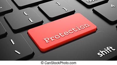 protección, button., rojo, teclado