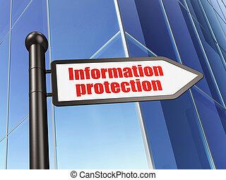 protección, concept:, información, protección, en, edificio, plano de fondo, 3d, render