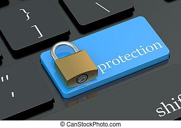 protección, concepto, en, teclado, botón
