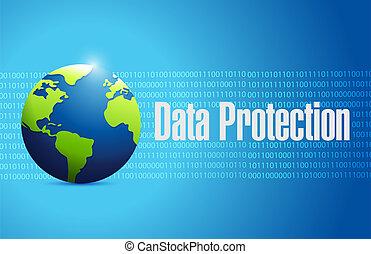 protección de los datos, binario, globo, señal, ilustración