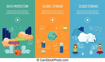 protección de los datos, global, y, nube, almacenamiento, banderas