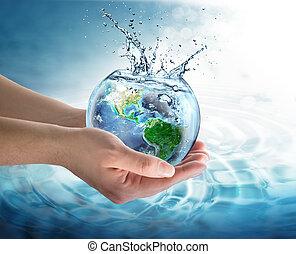 protección del medio ambiente de agua, planeta