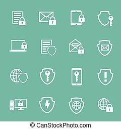 protección, informática, seguridad, pictograms, colección,...