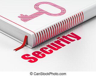 protección, libro, plano de fondo, llave, blanco, seguridad, concept: