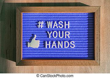 protección, manos, señal, higiene, prevention., tienda, empresa / negocio, covid-19, mensaje, hashtag, mano, coronavirus, lavado, medios, social, su, fieltro, bueno, en línea