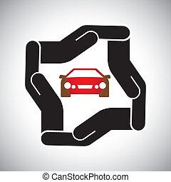 protección, o, seguridad, de, coche, o, automóvil, concepto, vector
