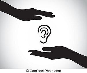 protección oreja, cheque, escuchar, arriba