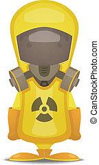 protección, radiación, traje