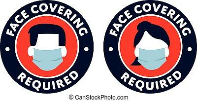 protección, señal, cara cubierta, requerido, iconos, covid-...