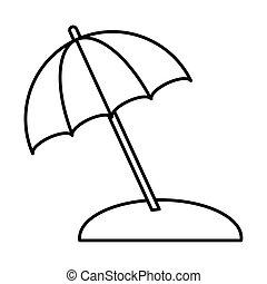 protección, viaje, paraguas, vacaciones, lineal, verano, estilo, arena, icono