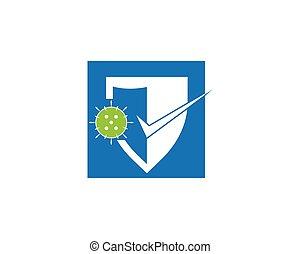 protección, virus, logotipo, corona, vector