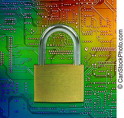 Protect and safe your data - Closed lock on circuit...