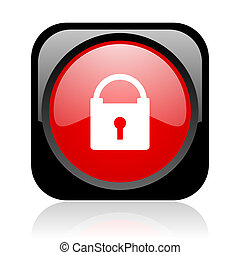 protect black and red square web glossy icon