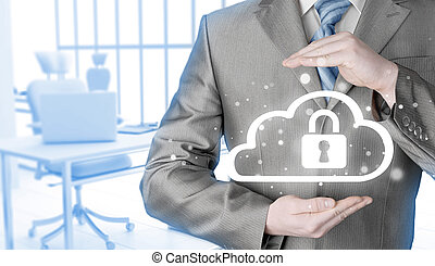 Protect cloud information data concept. Security and safety...