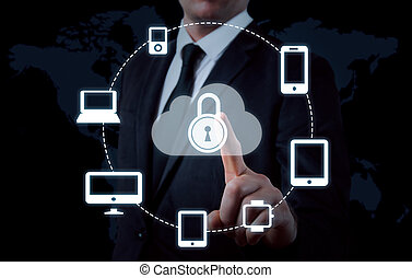 Protect cloud information data concept. Security and safety of cloud data