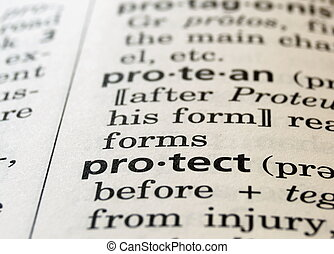 The word protect in a dictionary, close up