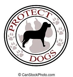 Protect dogs - Stamp with text protect dogs inside,vector...