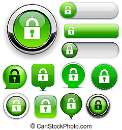 Protect high-detailed web button collection. - Protect green...