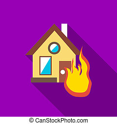 Protect home from fire icon, flat style