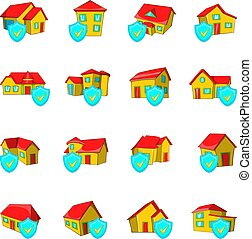Protect house icons set, cartoon style - Protect house icons...