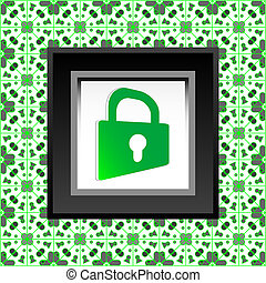 protect icon - green closed padlock icon