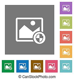 Protect image square flat icons