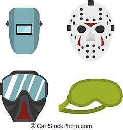 Protect mask icon set, flat style - Protect mask icon set....