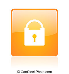 protect orange square glossy web icon