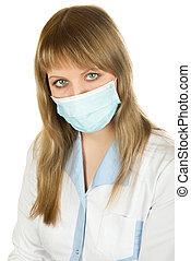 protect respiratory apparatus - Closeup of a female...