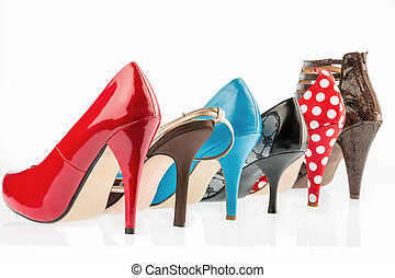 shoes with high heels protect against a white background