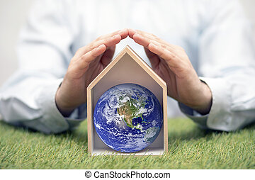 Protect the Earth, our home. Earth photo provided by Nasa.
