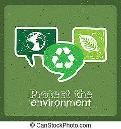 protect the environment over green background vector...
