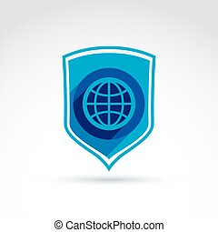 Protect the world, shield, defense symbol and earth globe icon, vector conceptual unusual symbol for your design.