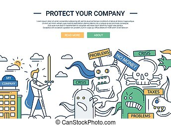 Protect your company line flat design banner with superhero...